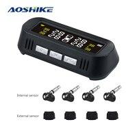 AOSHIKE TPMS Car Tire Pressure System Digital LCD Display Solar OR USB Car Wireless 4 Internal Sensor With Voice Broadcast