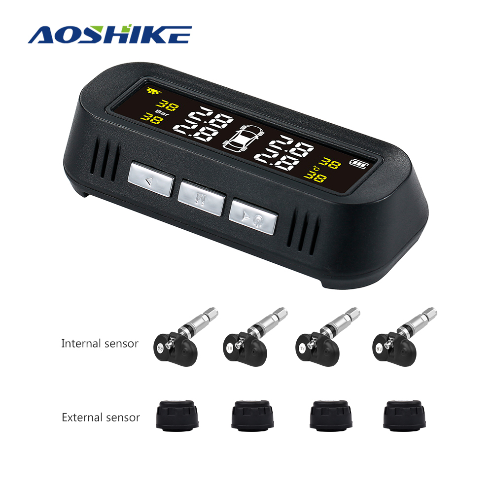 AOSHIKE TPMS Car Tire Pressure Alarm Monitor System Display Attached to Wireless Solar Power TPMS With 4 Sensors Tyre Pressure
