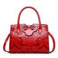 Céu fantasia quente do estilo Chinês vermelho em relevo PU moda casual PU corpo cruz bolsa das mulheres voga populares bonito meninas jovens tote