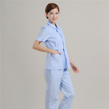 Summer Short Sleeve Medical Nurse Uniform Light Blue Hospital Care Workers Suits Dental Clinic Pharmacy Overalls Workwear Cloth