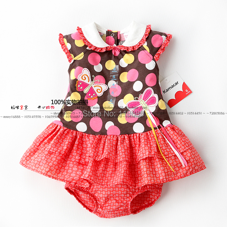 new 2014 summer baby & kids clothes sets child polka dot T-shirt dress + panties sets baby girls dress + shorts suit 6 size new 2014 summer baby