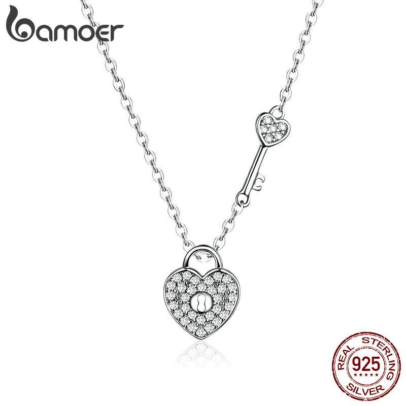 BAMOER New Arrival Luxury 925 Sterling Silver Love Heart Lock & Key Pendant Necklace For Women Wedding Fine Jewelry SCN315