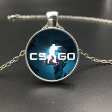 2017 Personality Gsgo Games Glass Chain Necklace For Men Anime Neckless Male Collier Homme Statement Pendants Jewelry Best Gift