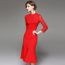 Sexy Spring New Long Fishtail Slim Red Collar Ladies Lace dress Cotton Roman  Cotton Fleece Cropped Sleeves Women SZWL1714105 c4f2e8a1a134