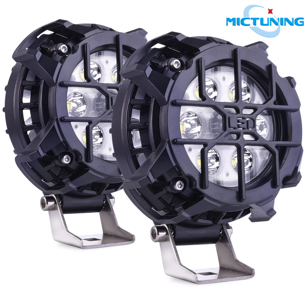 MICTUNING 48W Car Led Spot Pods Round LED Work Light Universal Lamps For Motorcycle Tractor Boat Off Road 4WD 4x4 Trucks SUV ATV