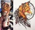 2016 21X15 CM Amarillo Fox y Fresca Pluma Belleza Tatuaje Temporal Pegatinas Tatuaje Impermeable Caliente #144