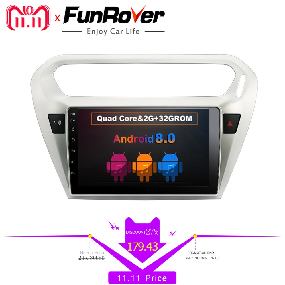 Funrover 9 Android 8.0 2 din Car dvd Radio Player for Citroen Elysee/ Peugeot 301 2014-2016 Car Multimedia GPS playe 2G+32GB BT женские сапоги zara 2014 3162 301