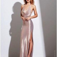 Fashion Women Sexy Dress Slit Sleeveless Strapless Party Floor-Length Woman Package Hip Casual Club Dress surplice slit cami club dress