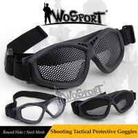 Wosport nuevo Tactical Tiro acero malla ojo gafas de protección al aire libre campo CS juego Militar ejército combate Gafas