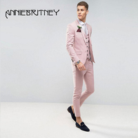 Summer Pink Men Suit 2018 Peaked Lapel 3 Pieces Formal Suits Slim Fit Groom Tuxedos Handsome Best Men Blazers Jacket+Pants+Vest