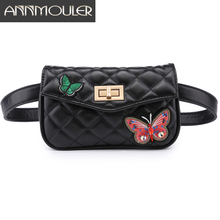 hot deal buy annmouler fashion bags for women solid black color waist bag high quality patchwork waist pack bag butterfly small fanny pouch