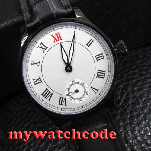 купить 44mm parnis white dial PVD case 6498 movement hand winding mens watch P439 по цене 5684.59 рублей