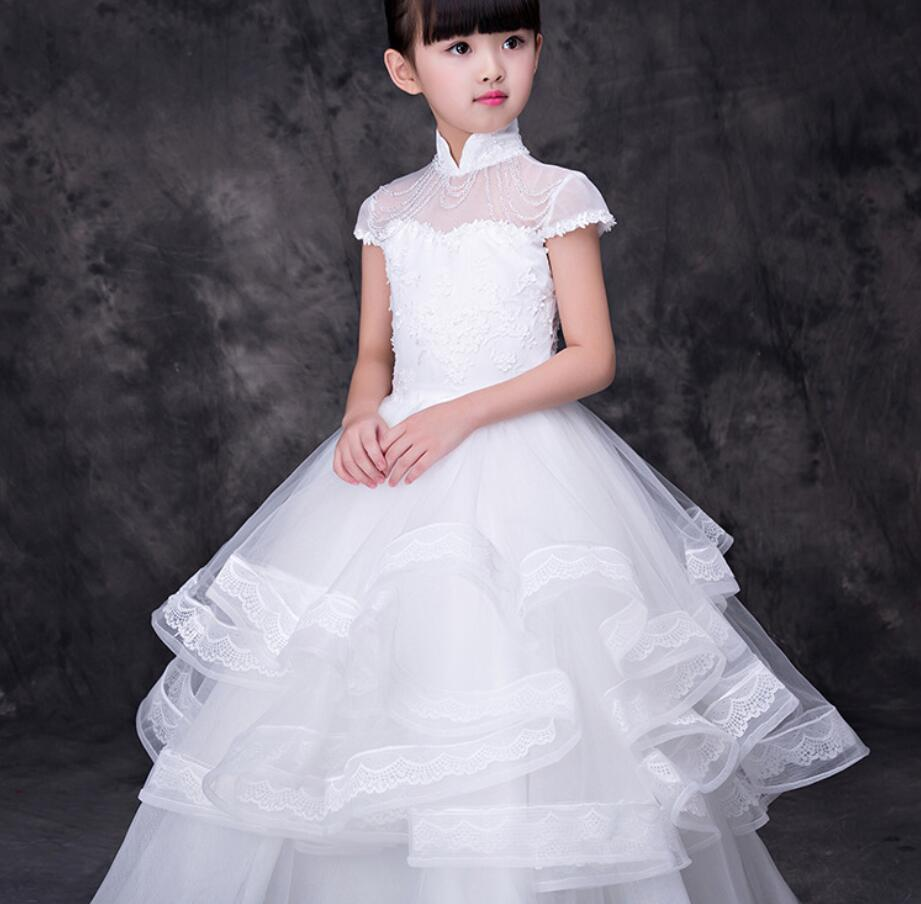 Flower Girl Dress Formal 3-12 Years Floral  Girls Dresses Vestidos White Wedding Party Children Clothes Birthday Clothing HW2356Flower Girl Dress Formal 3-12 Years Floral  Girls Dresses Vestidos White Wedding Party Children Clothes Birthday Clothing HW2356