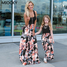 mother and daughter dresses flower print mommy and me clothes family matching outfits look mom mum and baby girls dress E0209 2017 family look 100% cotton flower v neck pregnant women skirts children girls holiday dress mother and daughter beach dresses