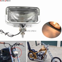 Solid Retro Styled Rectangular Motorcycles Headlight Vintage Amber Light Custom Head Lamp For Harley Criusers Bobber Cafe Racer
