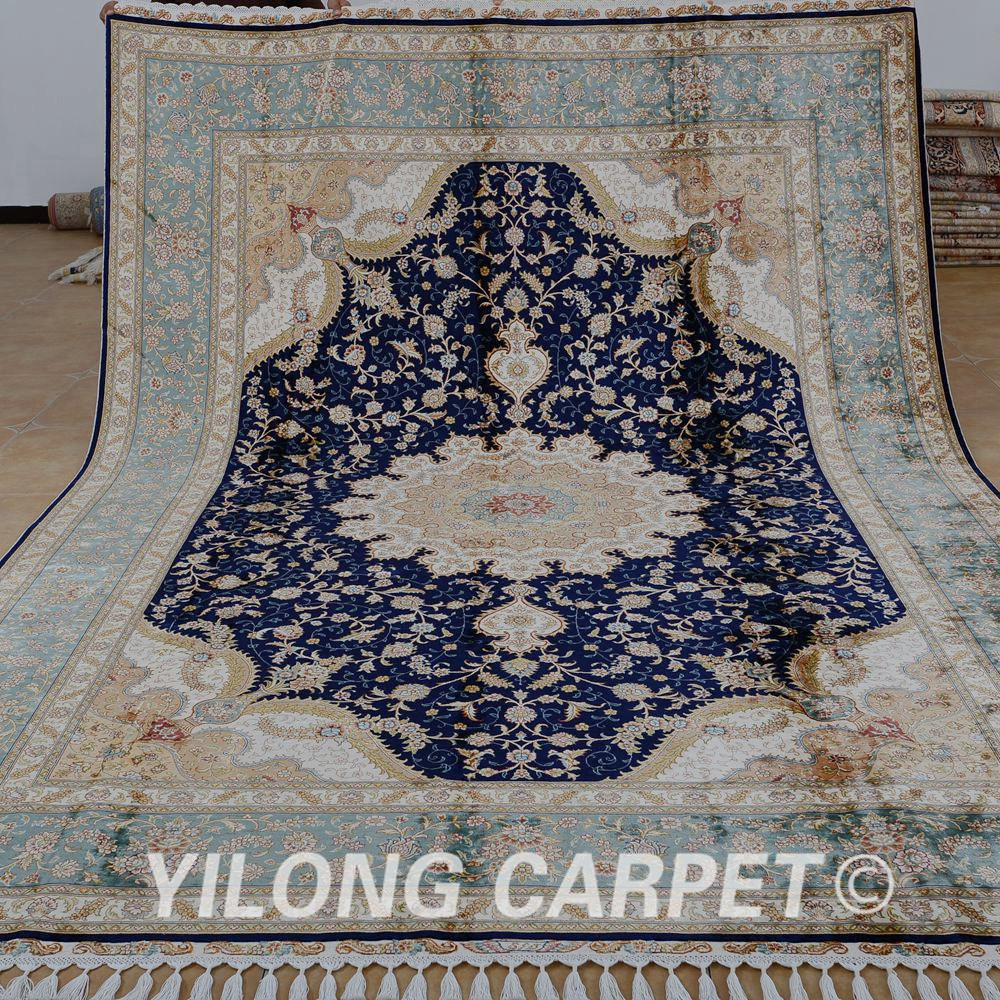 Yilong 8 X11 7 Tabriz Oriental Rug Large Antique Black Turkish Handmade Carpet 1869