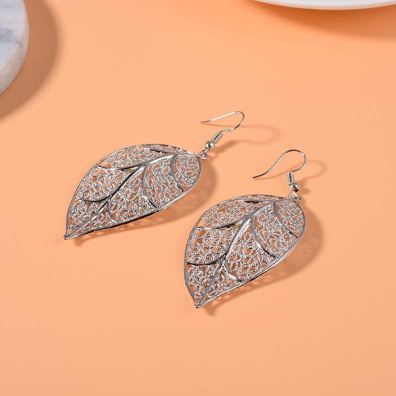 SUKI Boho, золотые, серебряные Длинные серьги с большими листьями, висячие серьги с подвеской, висячие серьги для женщин, модные свадебные ювелирные изделия