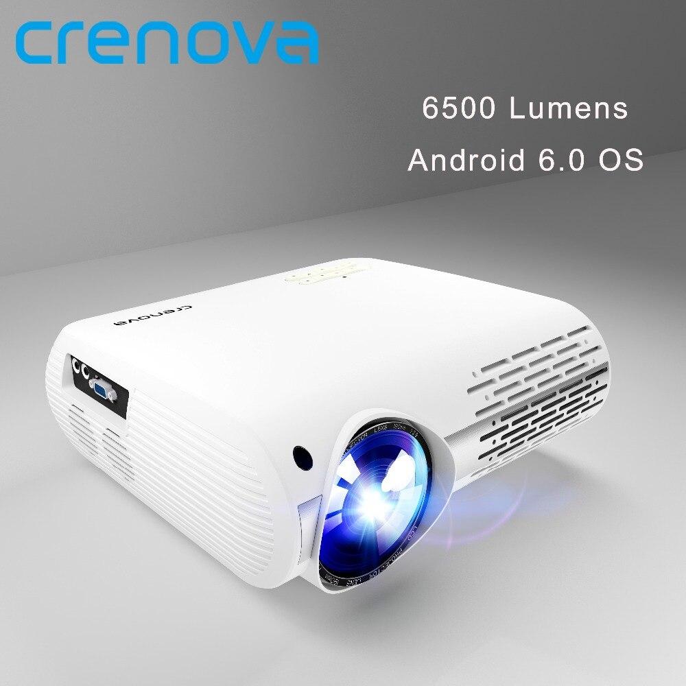 CRENOVA 6500 Lumens Home Cinéma Projecteurs Pour Full HD 4 k * 2 k Films Avec Android 6.0 OS WIFI bluetooth Led Projecteur Proyector