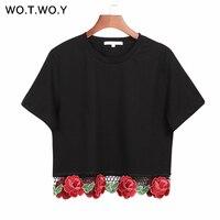 WOTWOY Femmes De Fleur De Mode Broderie Crop Top 2017 Femmes D'été T-shirts À Manches Courtes noir Tops Femme T-shirt Coton T757