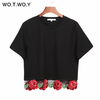 WOTWOY Women Fashion Flower Embroidery Crop Top 2017 Women Summer T Shirts Short Sleeve Black Tops