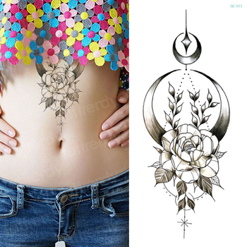mandala lotus flower tattoo mehndi henna stickers for hands sexy arab tattoo black sketches tattoo designs waterproof body art 5