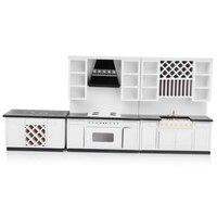 1:12 Dolls House Miniature Kitchen White Wooden Cabinet Set Kit Furniture