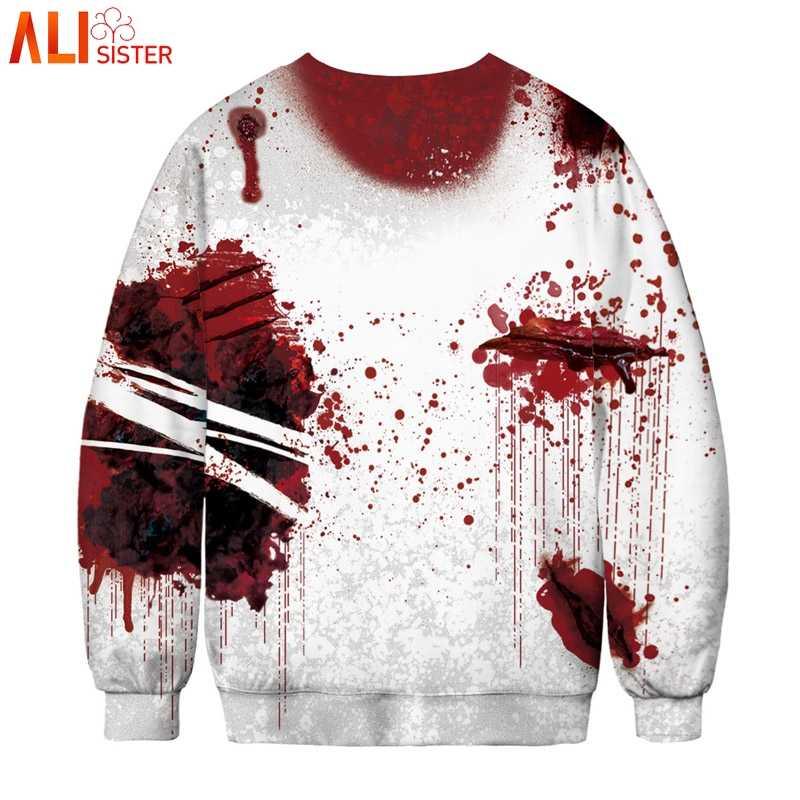 06412d09580 ... Alisister Plus Size Blood Hoodies Sweatshirts Women Men I M FINE Letter  Print Jacket Halloween ...