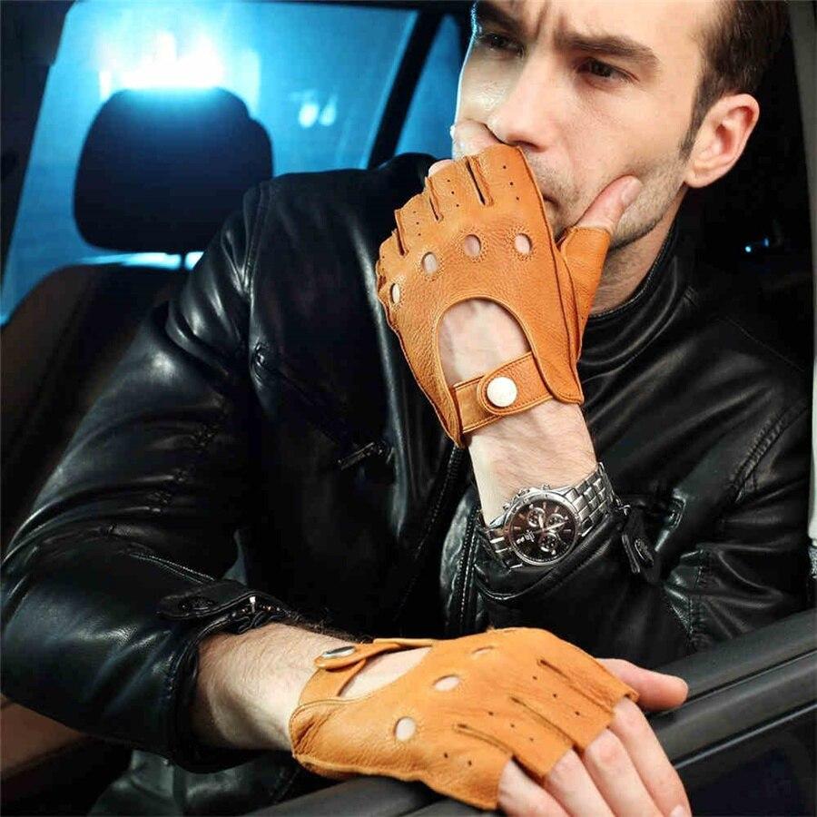 Hommes Peau de Daim Gants De Mode 2018 Bracelet Moitié Doigt Gant de Conduite Solide Adulte Mitaines Mitaines Réel Véritable En Cuir EM001W