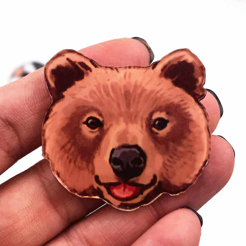 1 Pcs Kepala Beruang Lencana Minyak Lukisan Kreatif Bros Pin Fashion Aksesoris untuk Pakaian Anak-anak Pesta Ulang Tahun Hadir