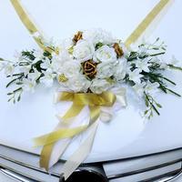 Wedding Car Decorations Kit Limousine Silk Flower Ribbon and Bow DIY Decor for Wedding Bridal Car Ornament