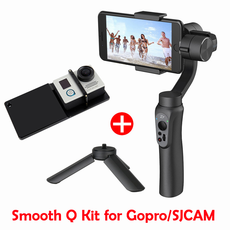 Zhiyun Smooth Q 3 Axis Gimbal Stabilizer with Boya BY MM1 microphone Kit Vlogging following shoot