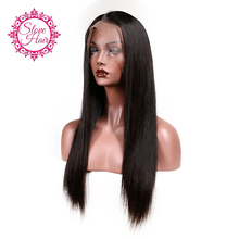 Slove Brazilian Lace Front Human Hair Wigs For Women Remy Hair Straight Wig With Baby Hair Natural Hairline Full End Black Color(China)