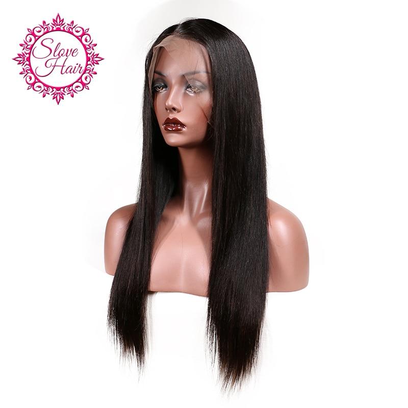 Slove бразильский Синтетические волосы на кружеве Человеческие волосы Искусственные парики для Для женщин Волосы Remy прямой парик с волосами младенца натуральных волос full конец черный Цвет