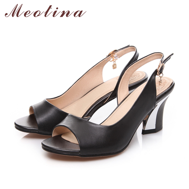 Meotina Genuine Leather Shoes Women Sandals Peep Toe High Heels Real Leather Sandals Rhinestone Ladies Shoes White Size 43 44