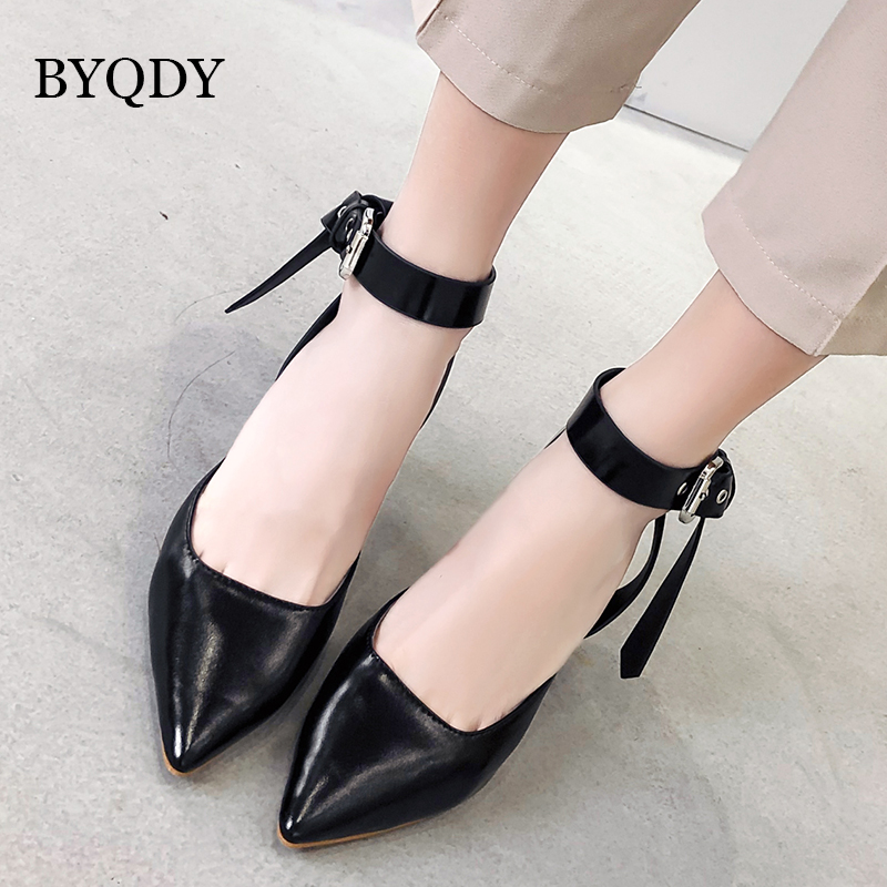 BYQDY Sexy Rivet Women Pumps High Heels Shoes Lady Pointed Toe Flock Party Buckle Strap Sapato Feminino Size 35-40