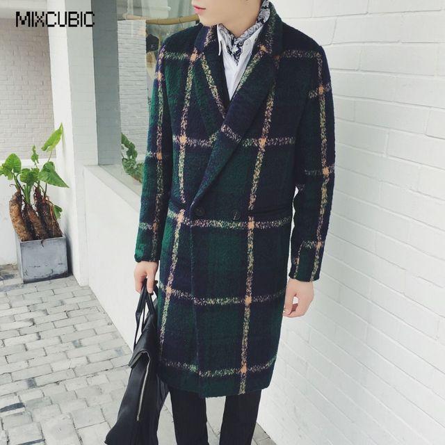 Mixcubic зима Британский Стиль Теплые Ретро классический большой плед шерстяной Куртки пальто мужчины длинный отрезок повседневные шерстяные пальто мужчины, M-XXL