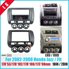 Car Fascia for Honda Jazz One Double Din Radio DVD Stereo CD Panel Mount Installation Trim Kit Frame Bezel ,  Manual AC LHD/RHD seicane good double din car radio fascia for 2009 2011 chevrolet cruze stereo dvd player install frame surrounded trim panel kit