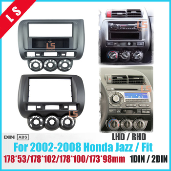 Car Fascia for Honda Jazz One Double Din Radio DVD Stereo CD Panel Mount Installation Trim Kit Frame Bezel ,  Manual AC LHD/RHD 11 297 2 din car radio stereo fascia panel frame dvd dash installation kit for renault duster 2010 logan 2013 sandero 2012