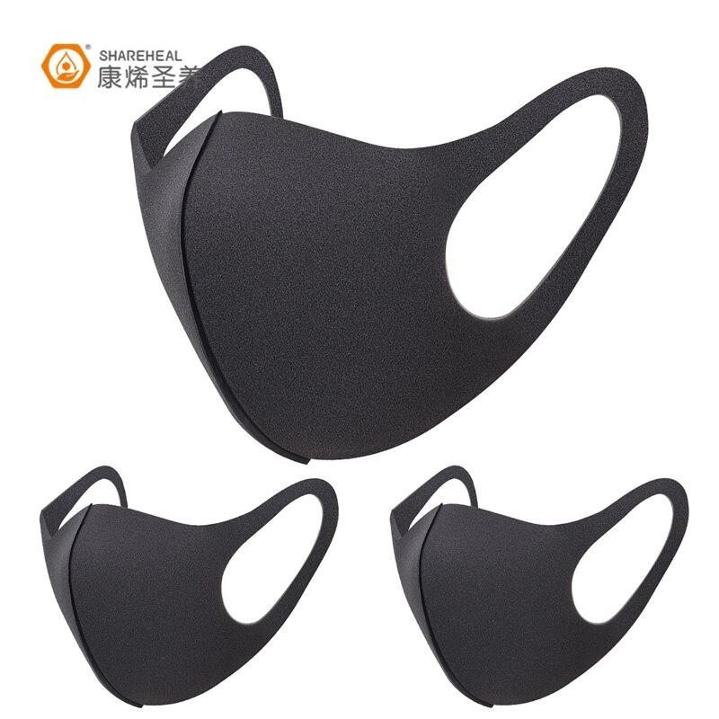 3 Pcs Black Kpop Mouth Mask Breathable Unisex Sponge Face Mask Reusable Anti Pollution Face Shield Wind Proof Mouth Cover 31 черная маска на рот