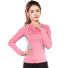 2017 Women's Sportswear Tee Top Breathable Soft Fabric Slim Sport T-shirt Long Sleeve Running Clothing Yoga Fitness Shirt