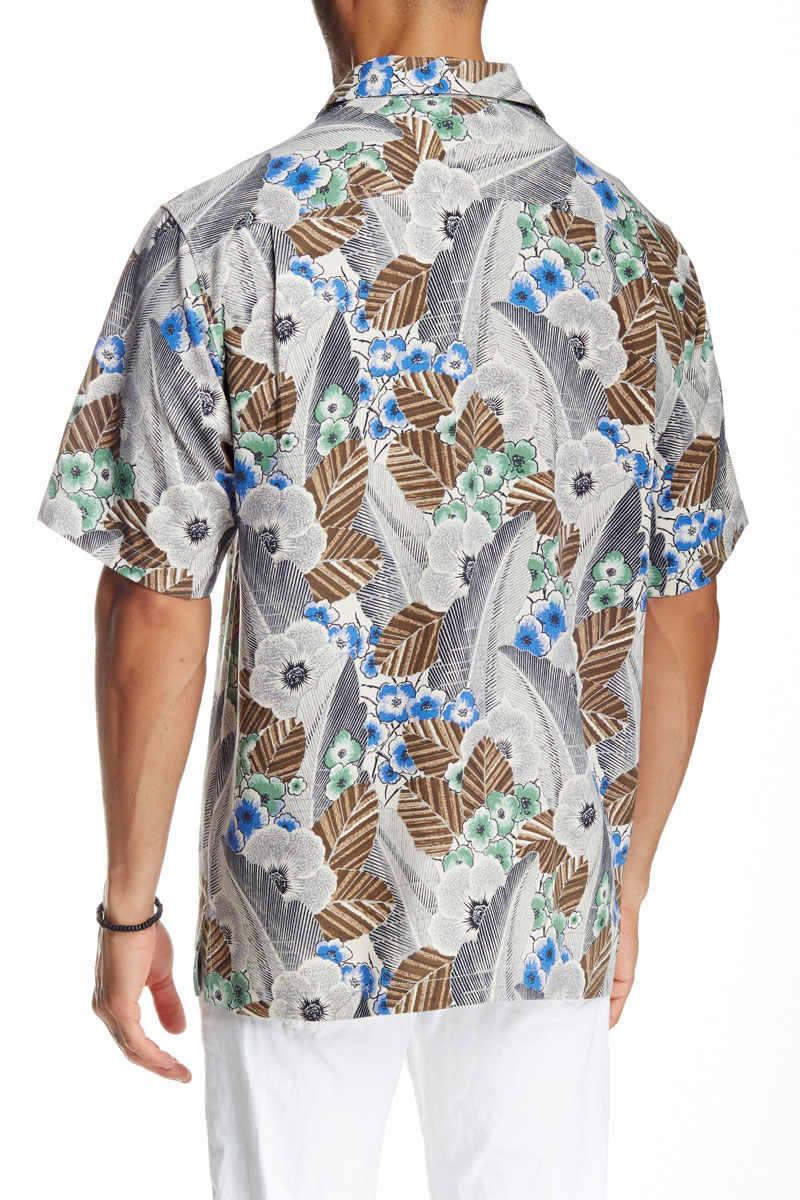 Американские размеры рубашки мужские шелковые модные Гавайские с цветочным принтом рубашки короткий рукав летнее пляжный отдых подходит вес 95-150 кг