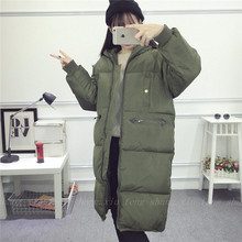 2016 новый Корейский зима длинный участок свободную одежду BF хлеб утолщенной Harajuku капюшоном вниз проложенный женщина