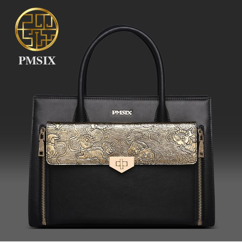 2017 Pmsix autumn and winter new Chinese style fashion mother middle-aged women bag leather shoulder bag women's bag 2017 pmsix new chinese style original fashion leather embroidery beads handbag shoulder bag fashion leather lady bag
