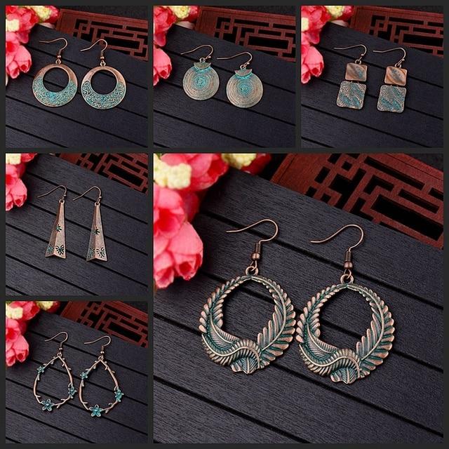 Amader Vintage Geometric Bohemian Bronze Drop Earrings Women Retro Verdigris Round Earrings Eardrop Fashion Jewelry Oorbellen