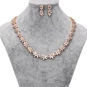 Image 2 - Brazaletes para damas marca WEIMANJINGDIAN Zirconia cúbica brillante CZ collar de flores de cristal y pendientes conjuntos de joyería nupcial de boda