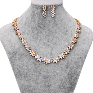 Image 2 - WEIMANJINGDIAN Brand Sparkling Cubic Zirconia CZ Crystal Flower Necklace and Earring Wedding Bridal Jewelry Sets