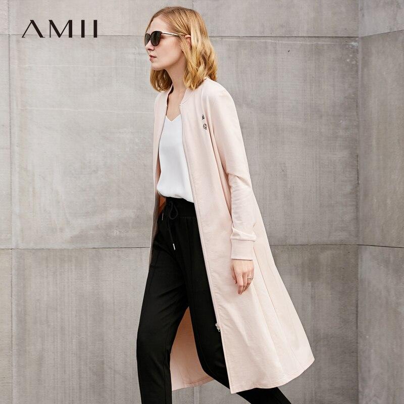 Cuello Amii 2019 Mujer Algodón Negro rosado Cremallera Mujeres Abrigos O Sólida Abrigo 100 Minimalista Casual blanco vPHrqOAv
