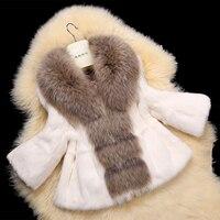 Большой реального енотовидная собака меховой воротник Женская вся кожа с натуральным кроличьим мехом пальто и куртки на меху зимняя куртка