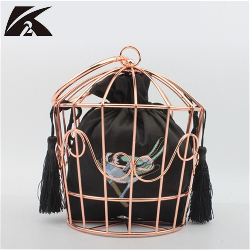Fancy Shape Metal Birdcage Frame Ladies Purse with Satin Bag Clutch Bags Embroidery Bucket Bird Cage Mini Bags Cute Handbags
