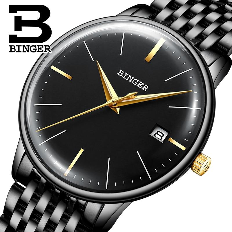 170e1eb3169 Seiko Automatic Movement Switzerland BINGER Top Brand Luxury Men Mechanical  Watch relogio masculino Casual Business Wristwatch
